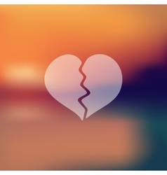 broken heart icon on blurred background vector image