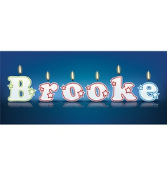Brooke written with burning candles vector