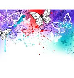 Butterflies on Watercolor vector