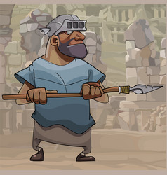 cartoon male warrior with a spear on the vector image