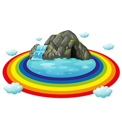 Cave and rainbow vector image