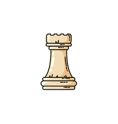 Chess white rook flat icon vector