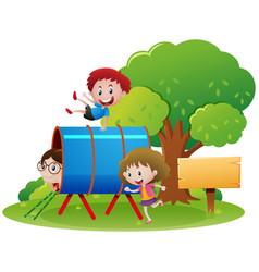 Children crawling through the tube vector