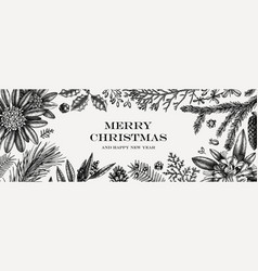 Christmas banner design frame with hand sketched vector