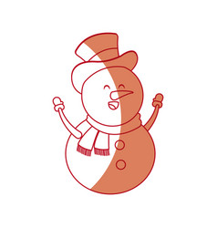 Christmas snowman with hat and scarf character vector