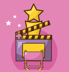 Cinema icon set over pink background design vector