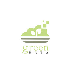 cloud green data logo vector image