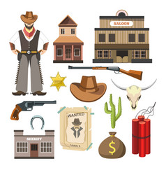 Cowboy template flat colorful sign symbols vector