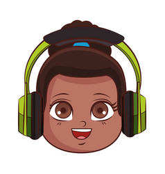 Cute girl face cartoon vector