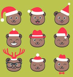 cute teddy bear faces with christmas hats vector image