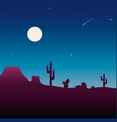 desert landscape under the night sky vector image