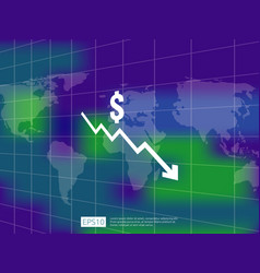 dollar money fall down symbol with world map and vector image