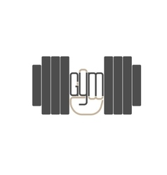 Dumbbell in hand logo element vector image