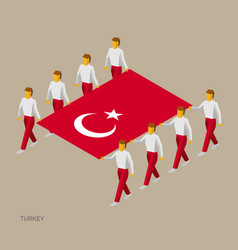 Eight people hold big flag of turkey vector