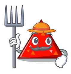Farmer triangel character cartoon style vector