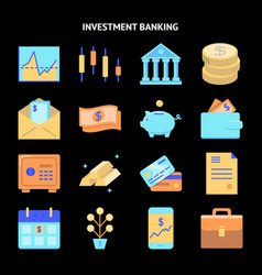 finance and money icon collection in flat style vector image