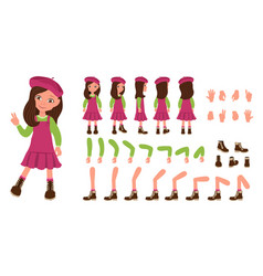 Flat of kid girl in red dress vector