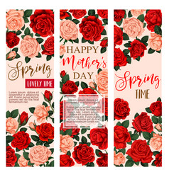 floral flowers roses banners for mother day vector image