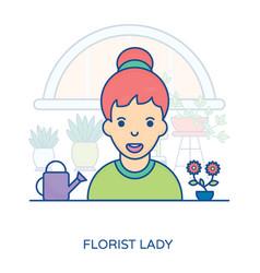 Florist lady avatar vector