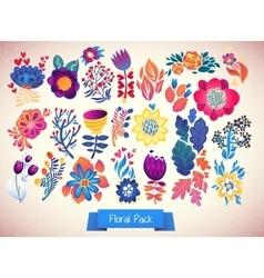 Flowers decorative set of doodle vector