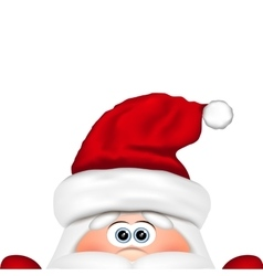 Funny Santa peeking out from bottom edge of the vector image