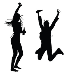 girls dancing and jumping silhouette vector image