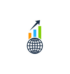 globe stock market business logo icon design vector image