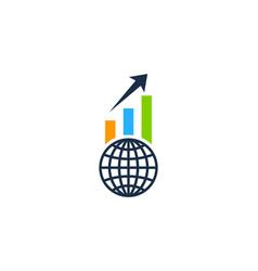 Globe stock market business logo icon design vector