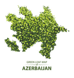 Green leaf map of azerbaijan of a vector