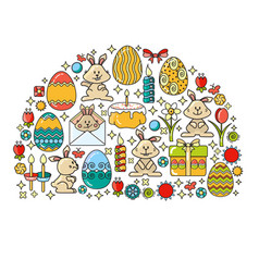 greeting card with easter icon and vector image
