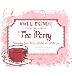 Hand drawn tea party invitation card vintage frame vector