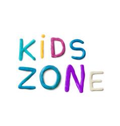 Handmade modeling clay words kids zone vector