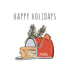 Happy new year merry christmas postbox with mails vector