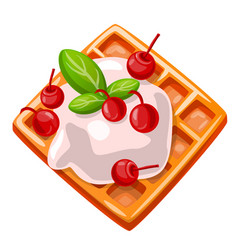 Icon cartoon waffles with vector
