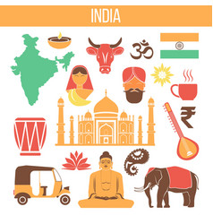 india travel famous landmarks and tourist culture vector image