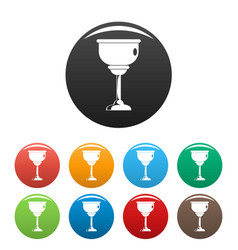 jewish cup icons set color vector image