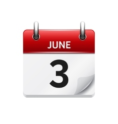 June 3 flat daily calendar icon date vector