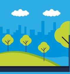 landscape city building trees park nature vector image