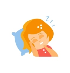 Little Red Head Girl In Red Dress Sleeping Flat vector