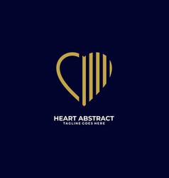 Logo abstract heart line art style vector