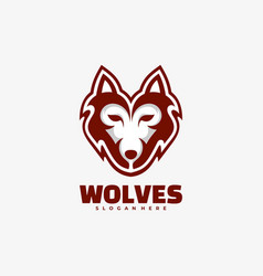 logo wolves simple mascot style vector image