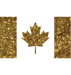 luxury golden glitter canada country flag icon vector image