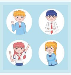 Manga youth portrait vector