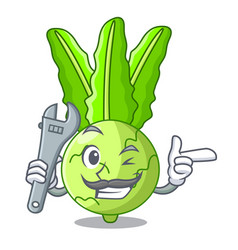 Mechanic fresh cabbage kohlrabi on the mascot vector