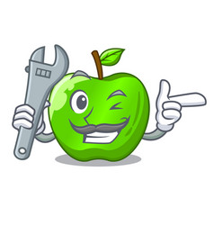 Mechanic green smith apple isolated on cartoon vector
