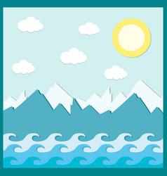 Mountain sky water sun summer clouds composition vector