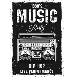 Music party black poster template with boombox vector