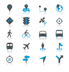 navigation flat with reflection icons vector image