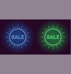 Neon icon of blue and green sale badge vector