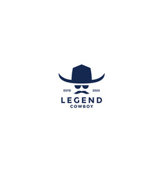 Old cowboy vintage head with hat and mustache vector